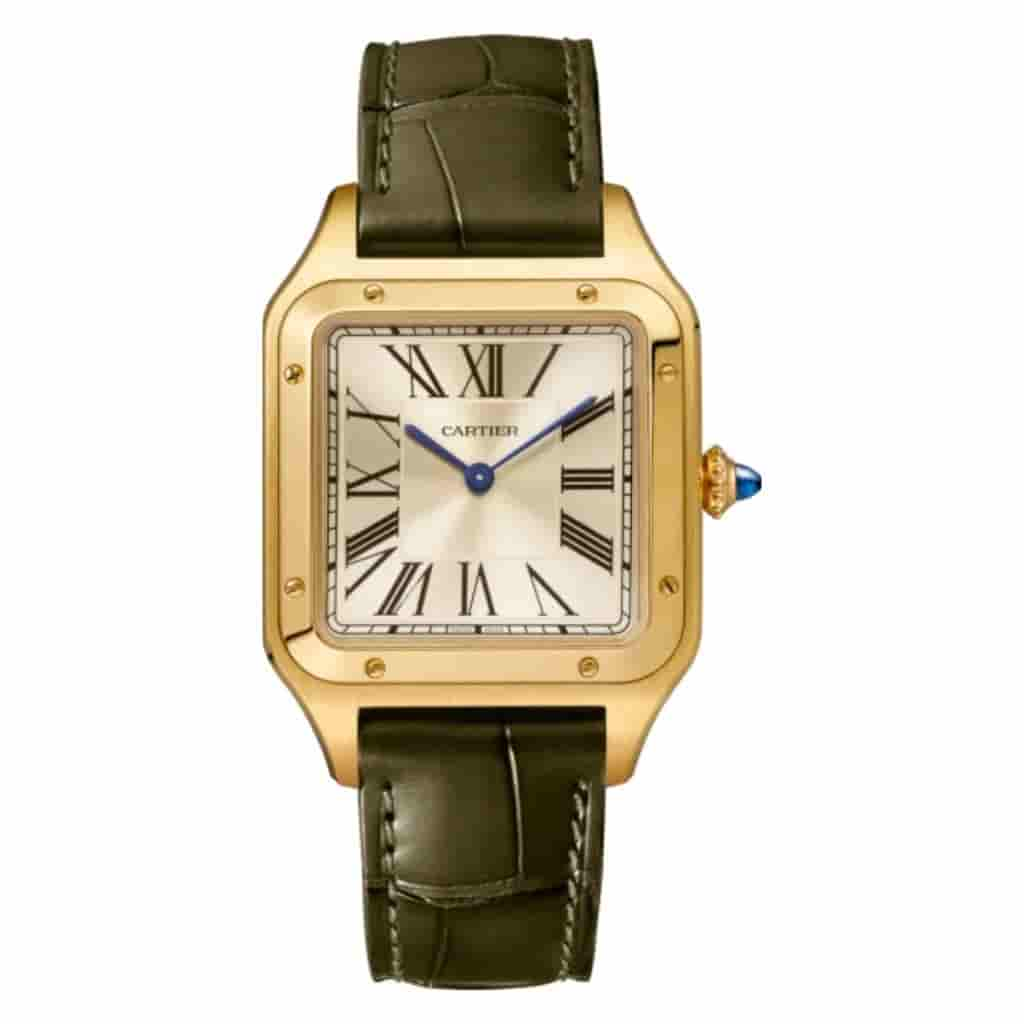 Cartier Santos-Dumont watch with a dark green leather strap and gold case.