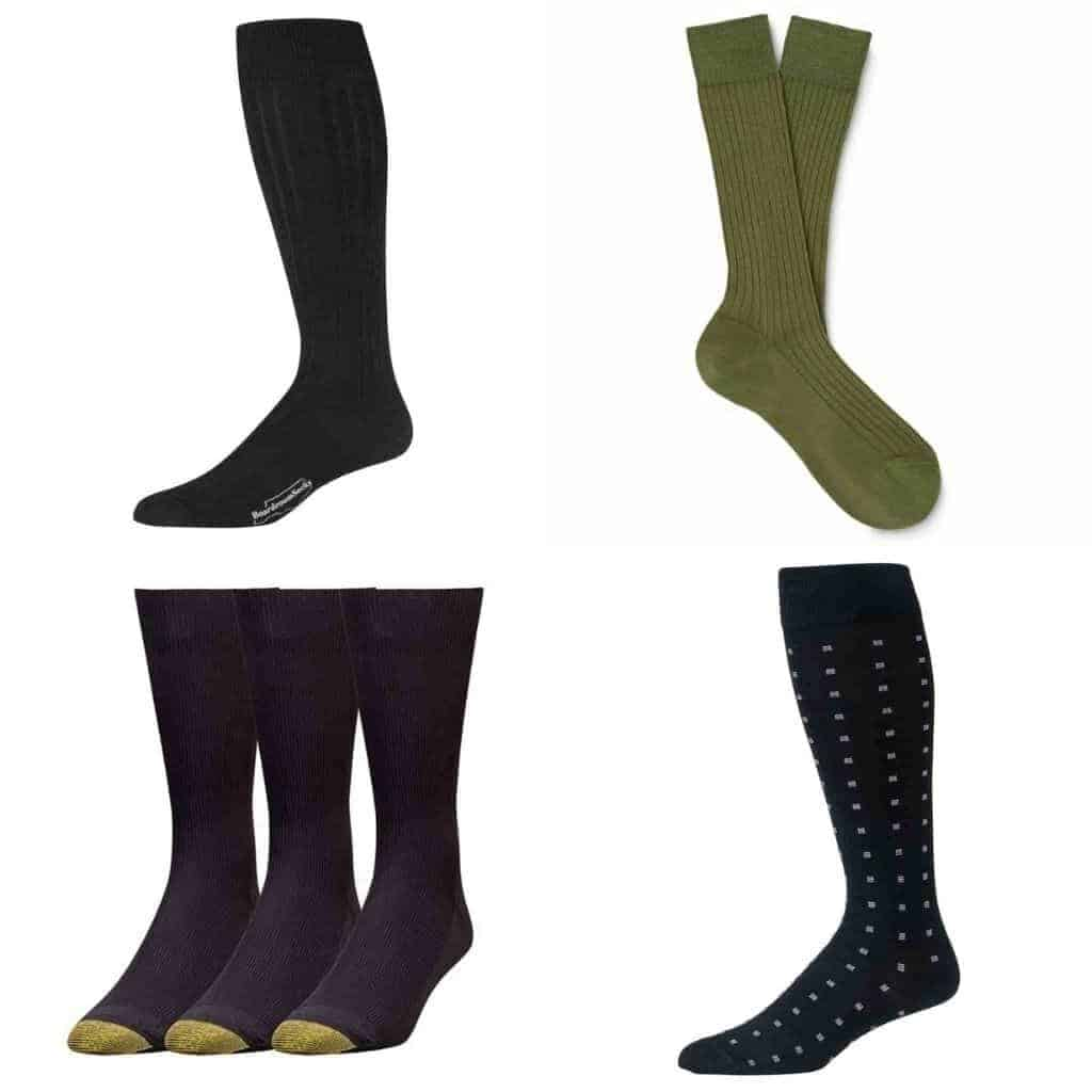 Collage of four different dress socks.