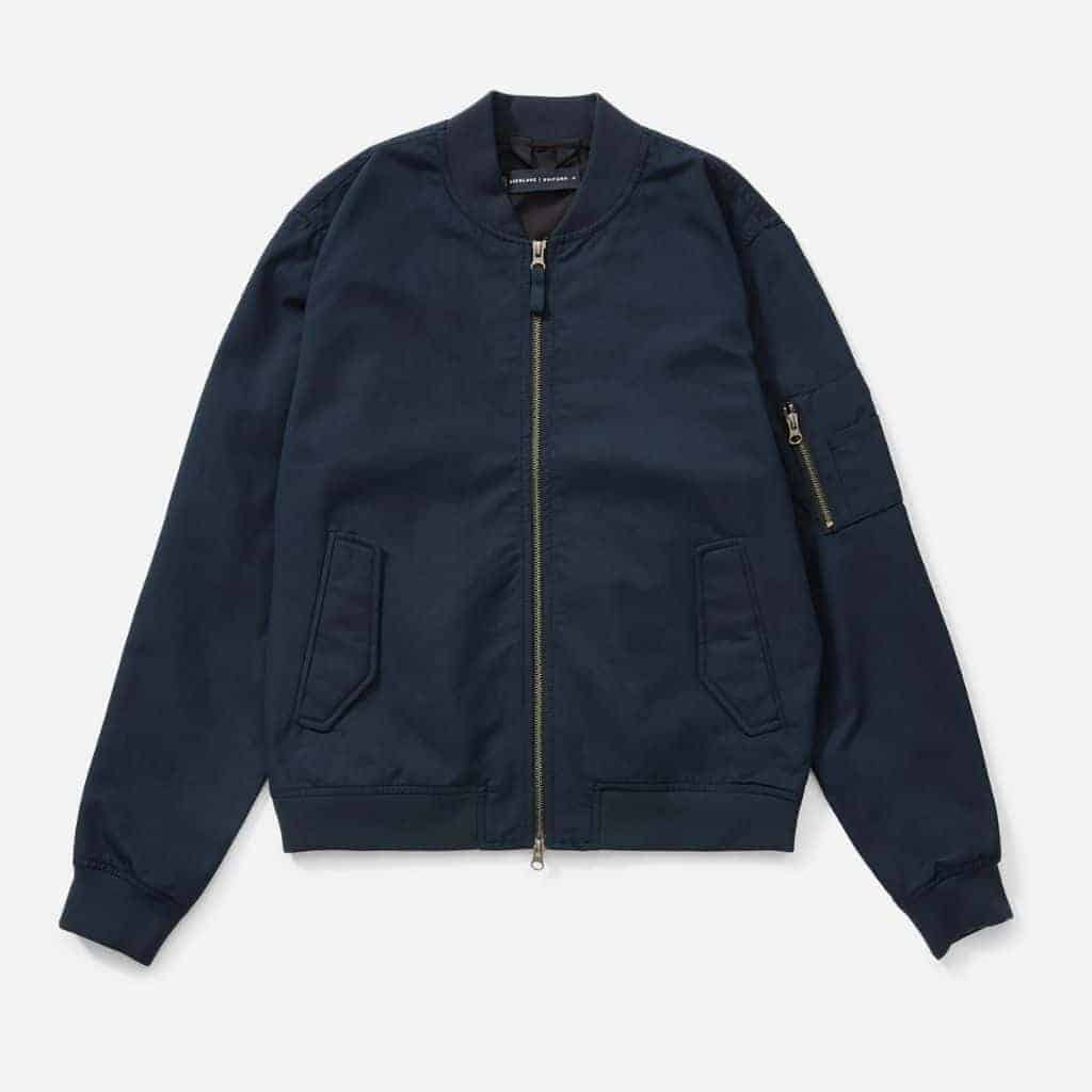 Navy blue Everlane bomber jacket.