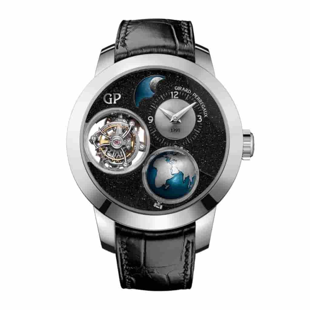Girard-Perragaux Planetarium Tri-Axial Tourbillon watch with a black leather strap.