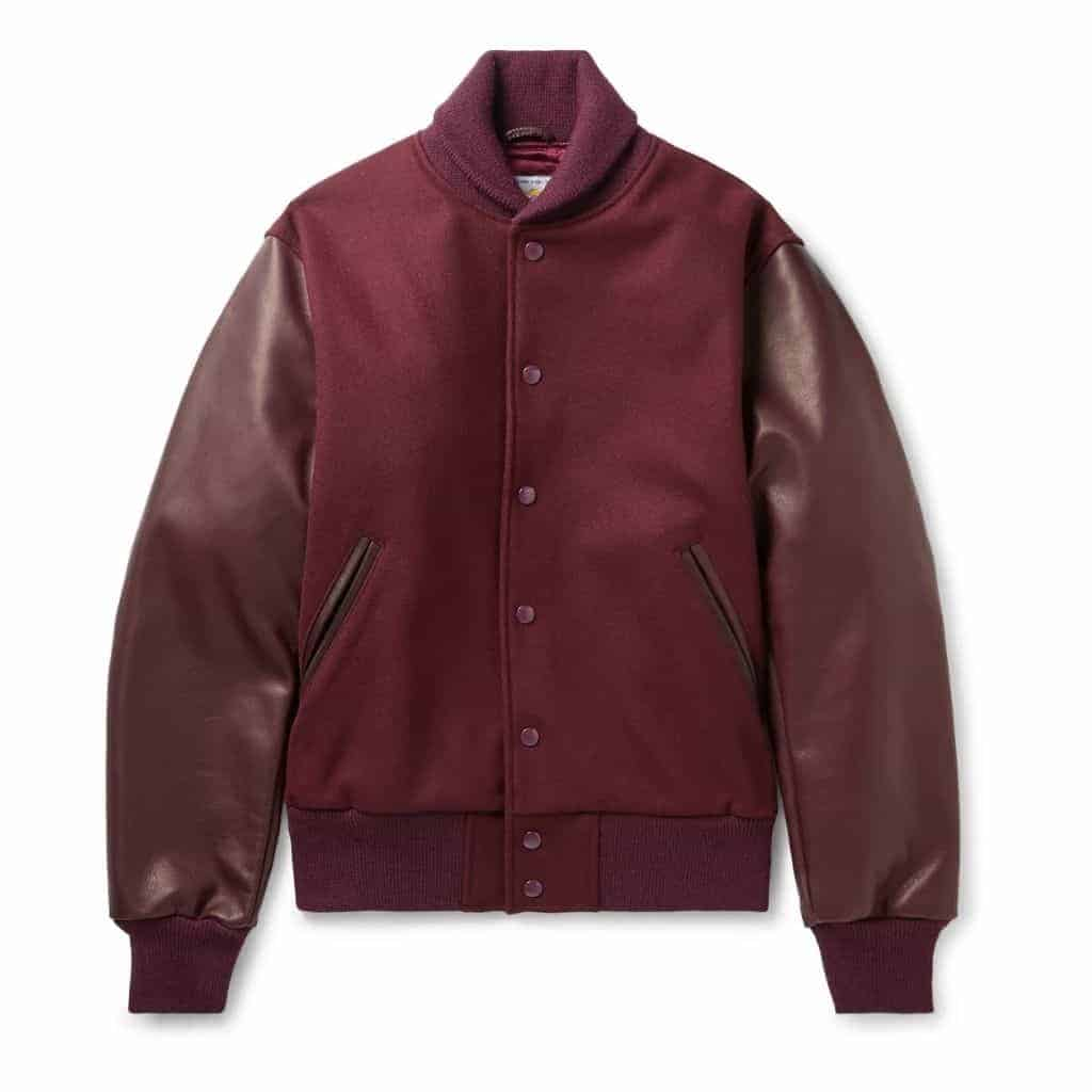 Burgundy wool and leather bomber jacket.