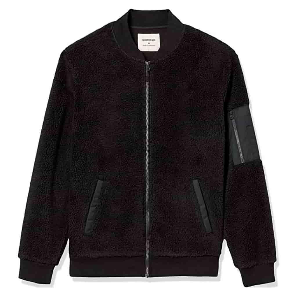 Black Goodthreads sherpa bomber jacket.