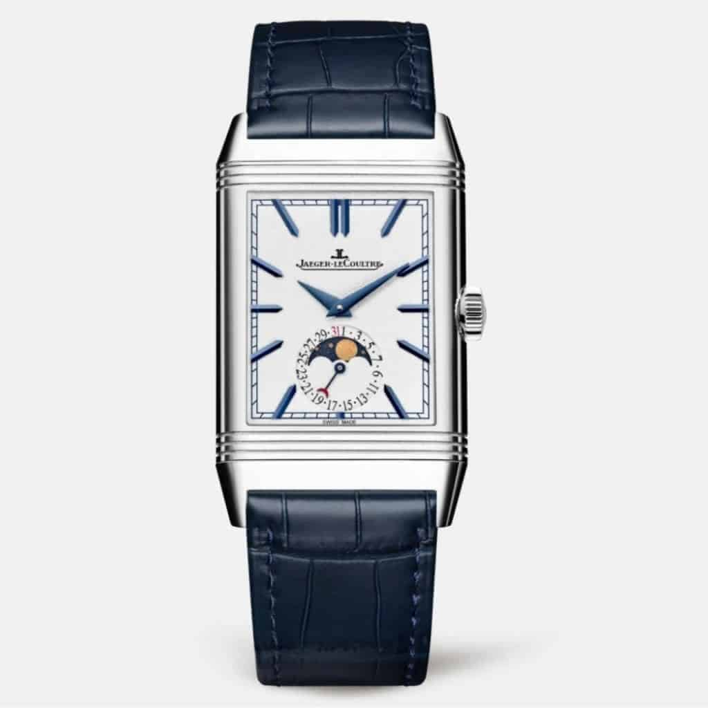 Jaeger-LeCoultre Reverso watch with a dark blue leather strap.