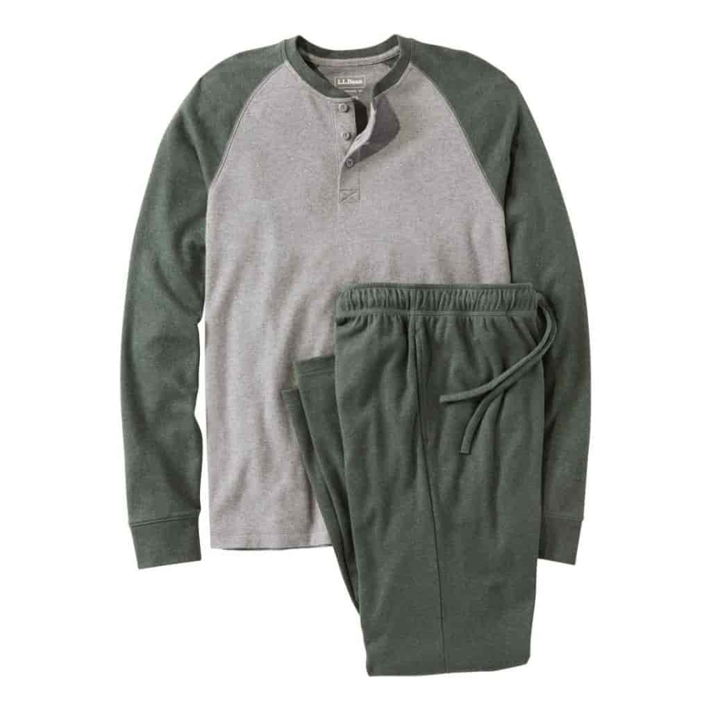 Green and grey pajama set.