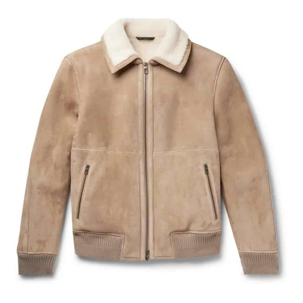 Light brown Loro Piana bomber jacket with shearling interior.