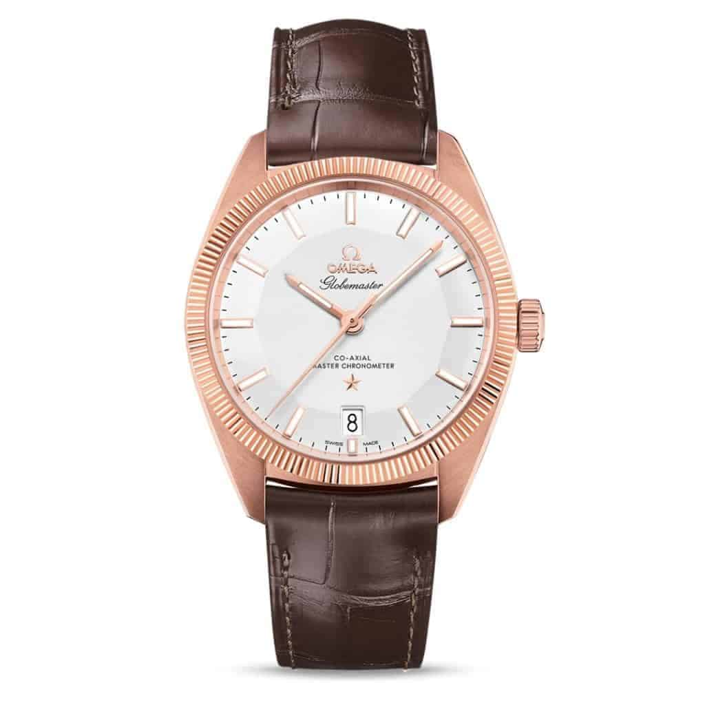 Omega Globemaster watch with a brown leather strap and rose gold case.