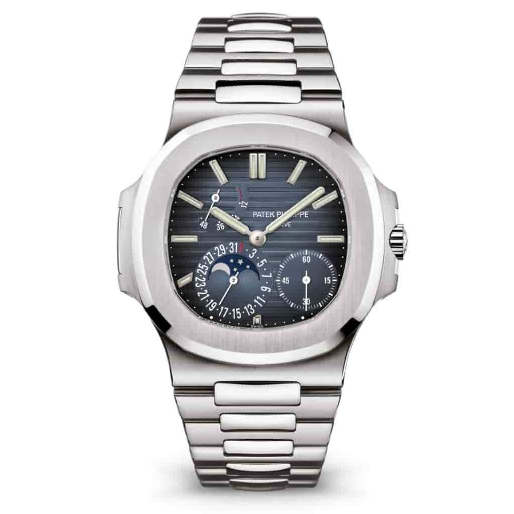 Patek Philippe Nautilus silver stainless steel watch.