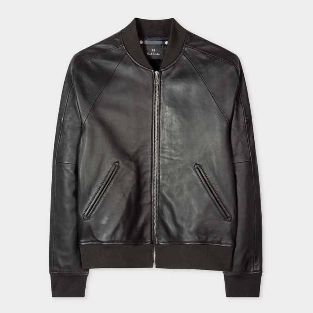 Paul Smith black leather bomber jacket.