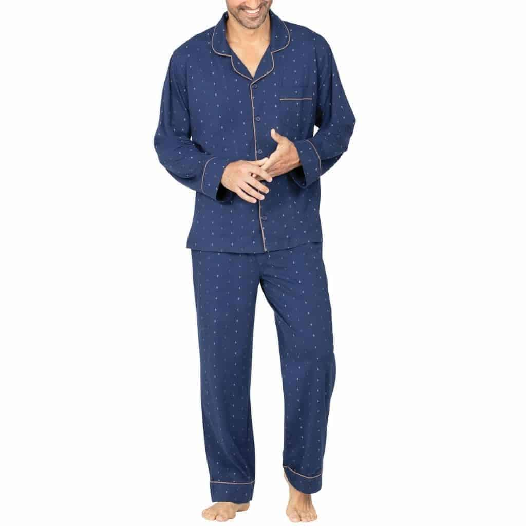 Person wearing a blue pajama set.