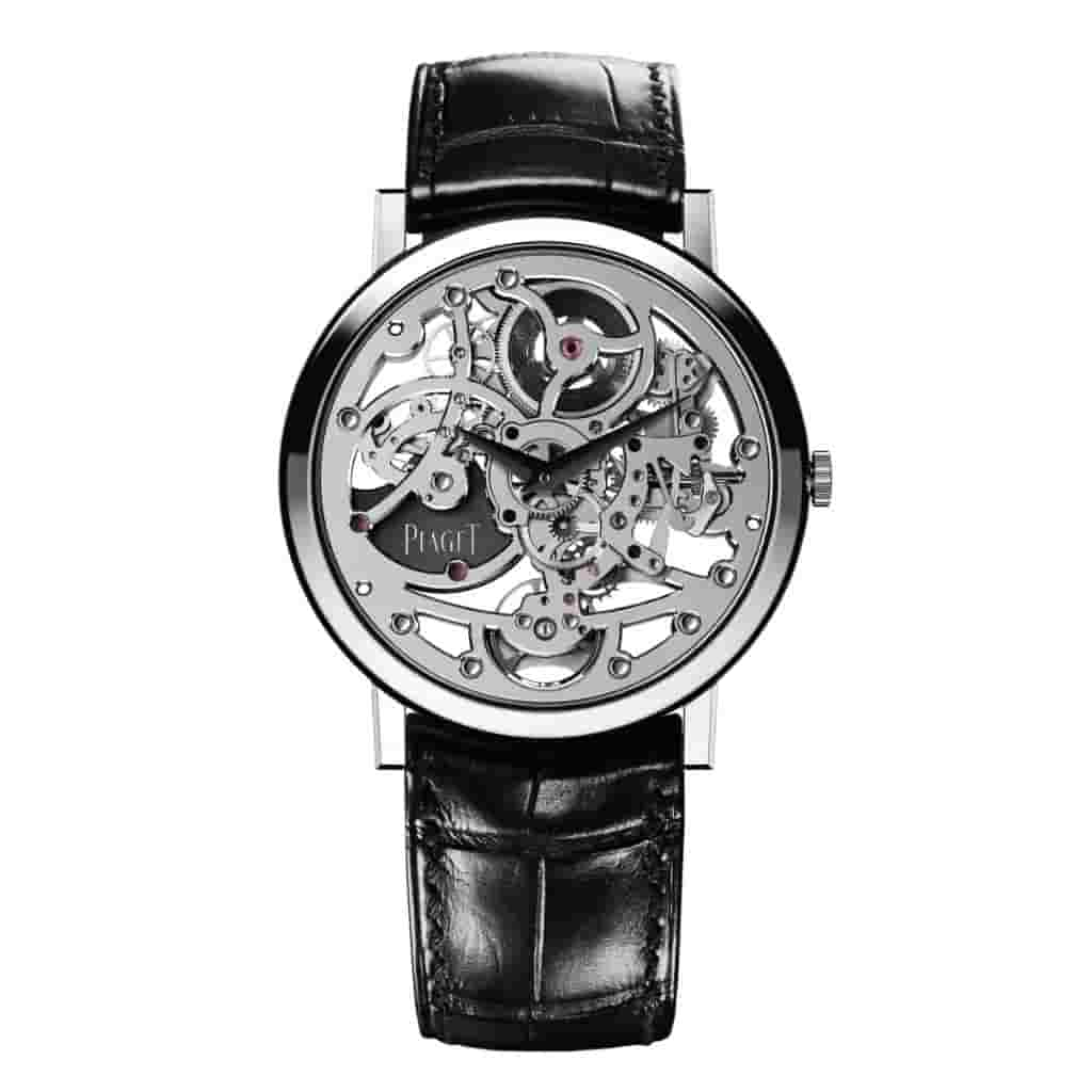 Piaget Altiplano watch with a black leather strap and silver case.