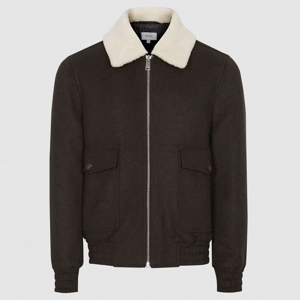 Dark green Reiss bomber jacket with a shearling collar.