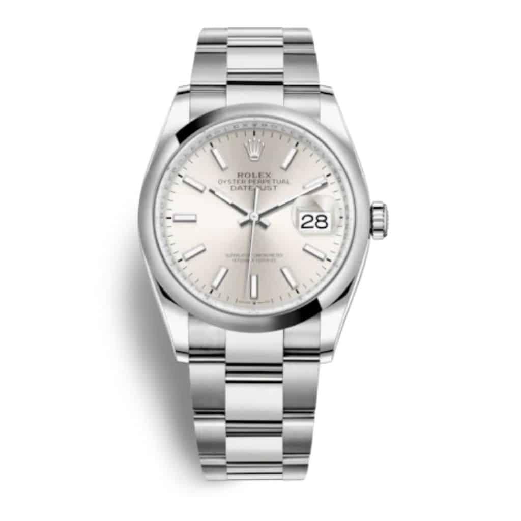 Silver Rolex Datejust 36 watch.