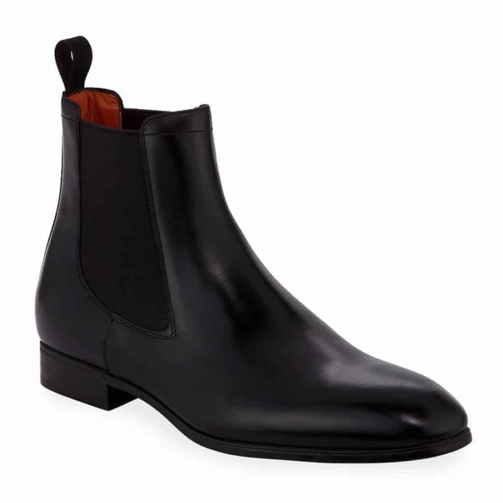 Black leather Santoni Luna Chelsea boot.