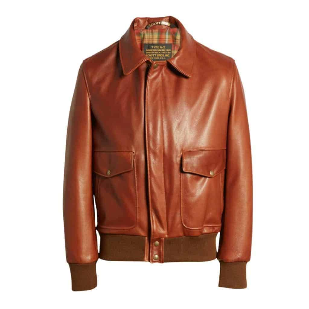 Brown leather bomber jacket by Schott NYC.
