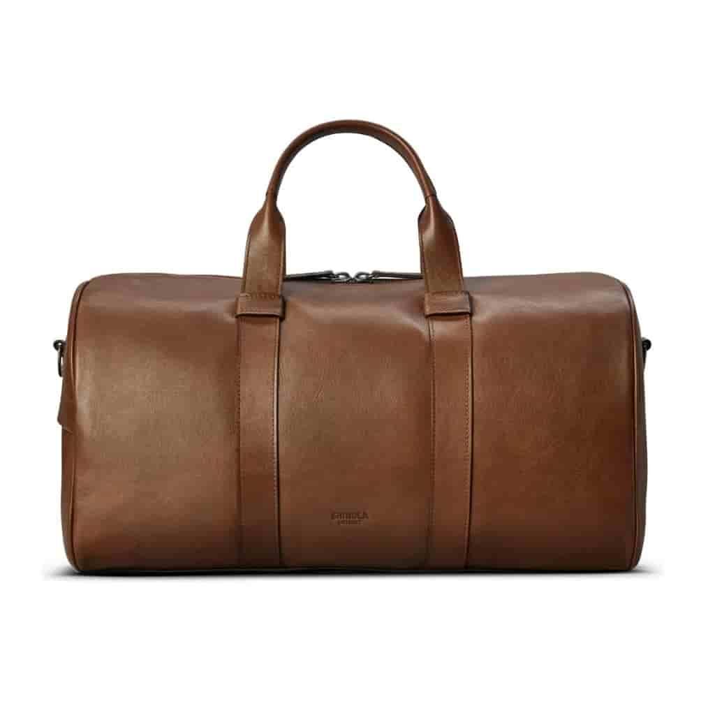 Brown leather duffle bag by Shinola.