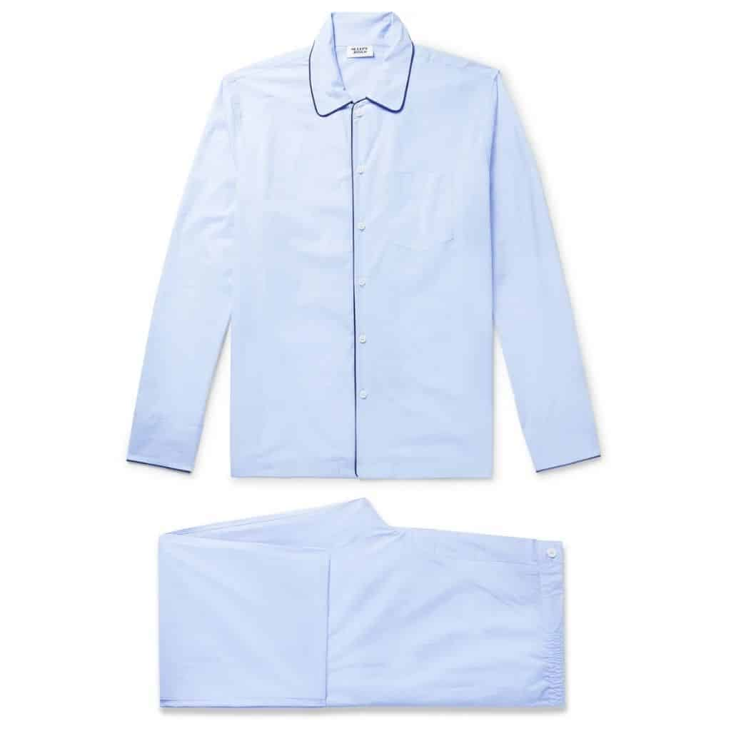 Sky blue button-up pajamas set.