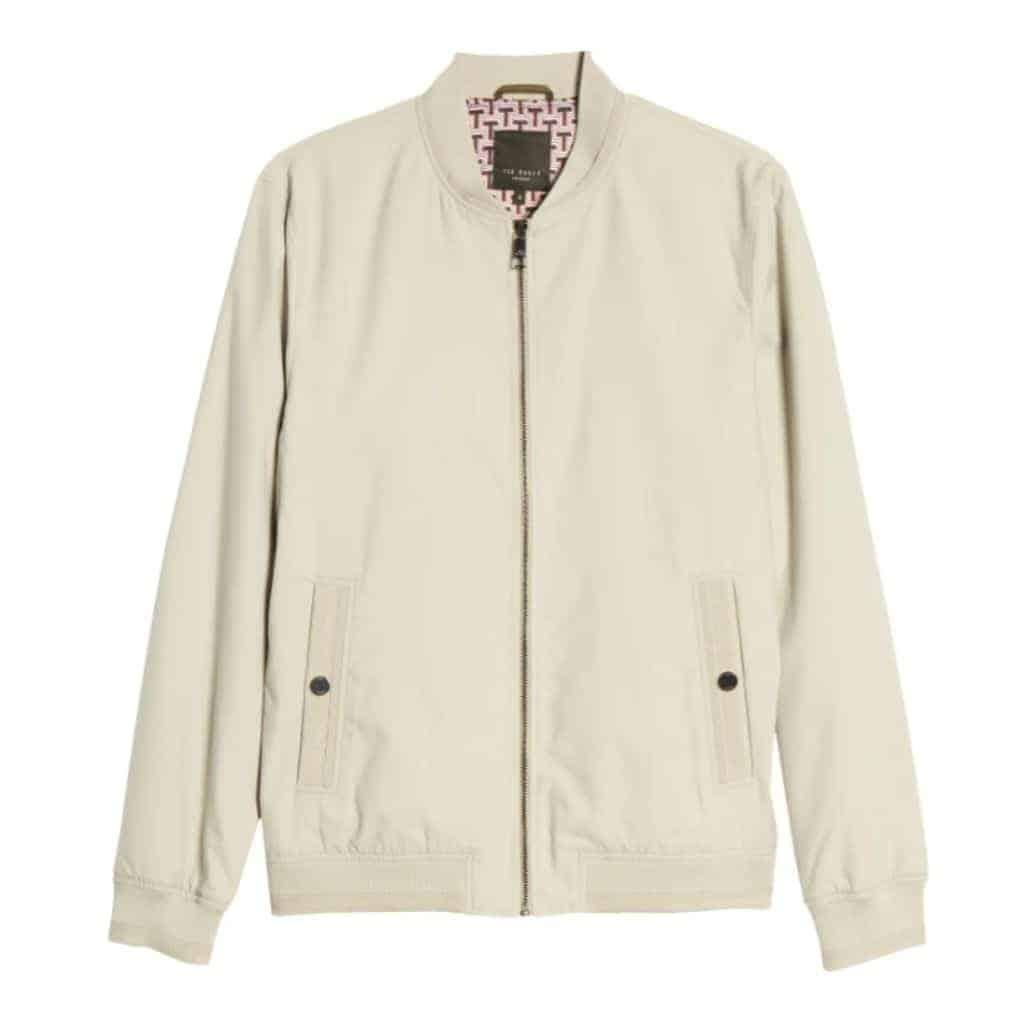Stone grey bomber jacket by Ted Baker.