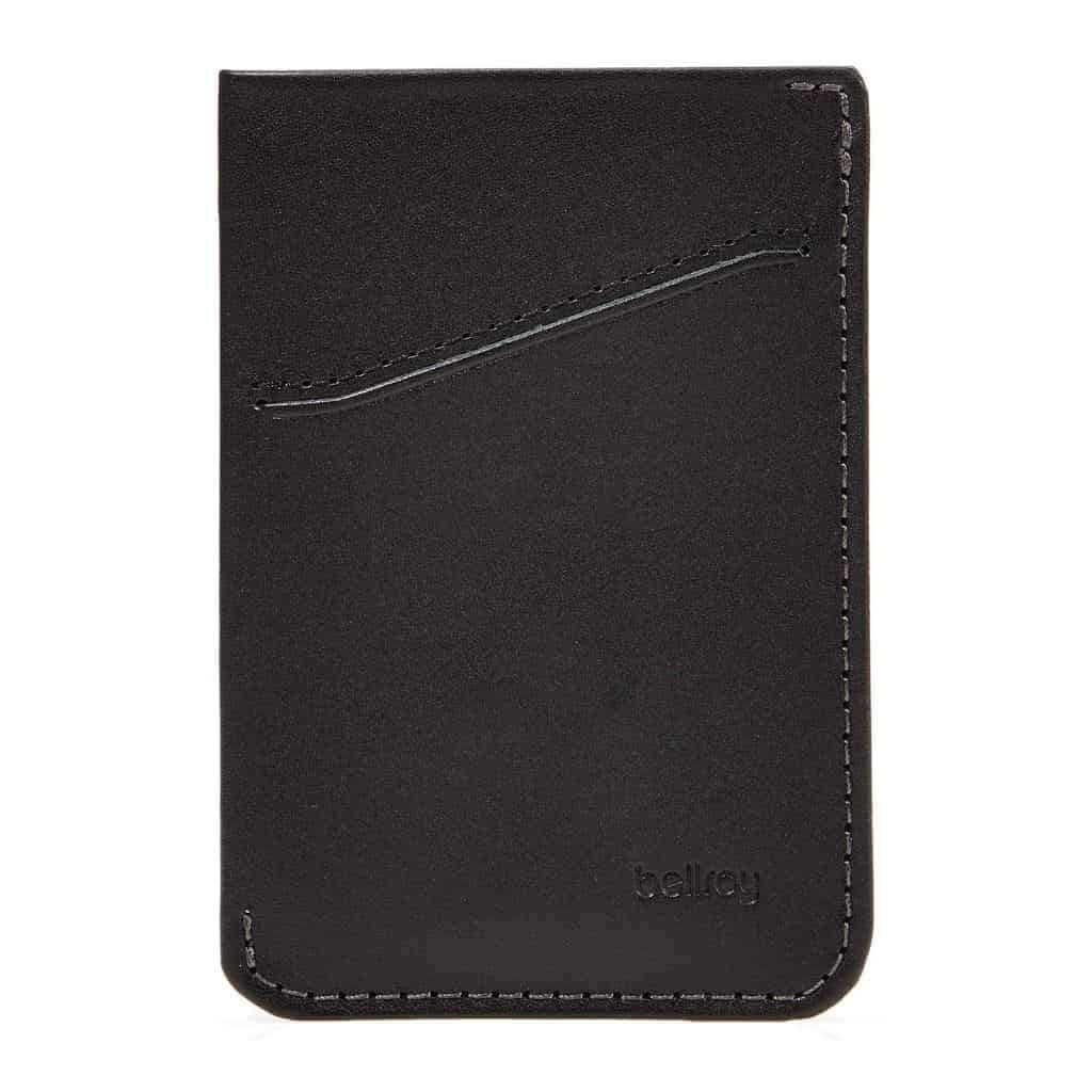 Black leather Bellroy card sleeve.