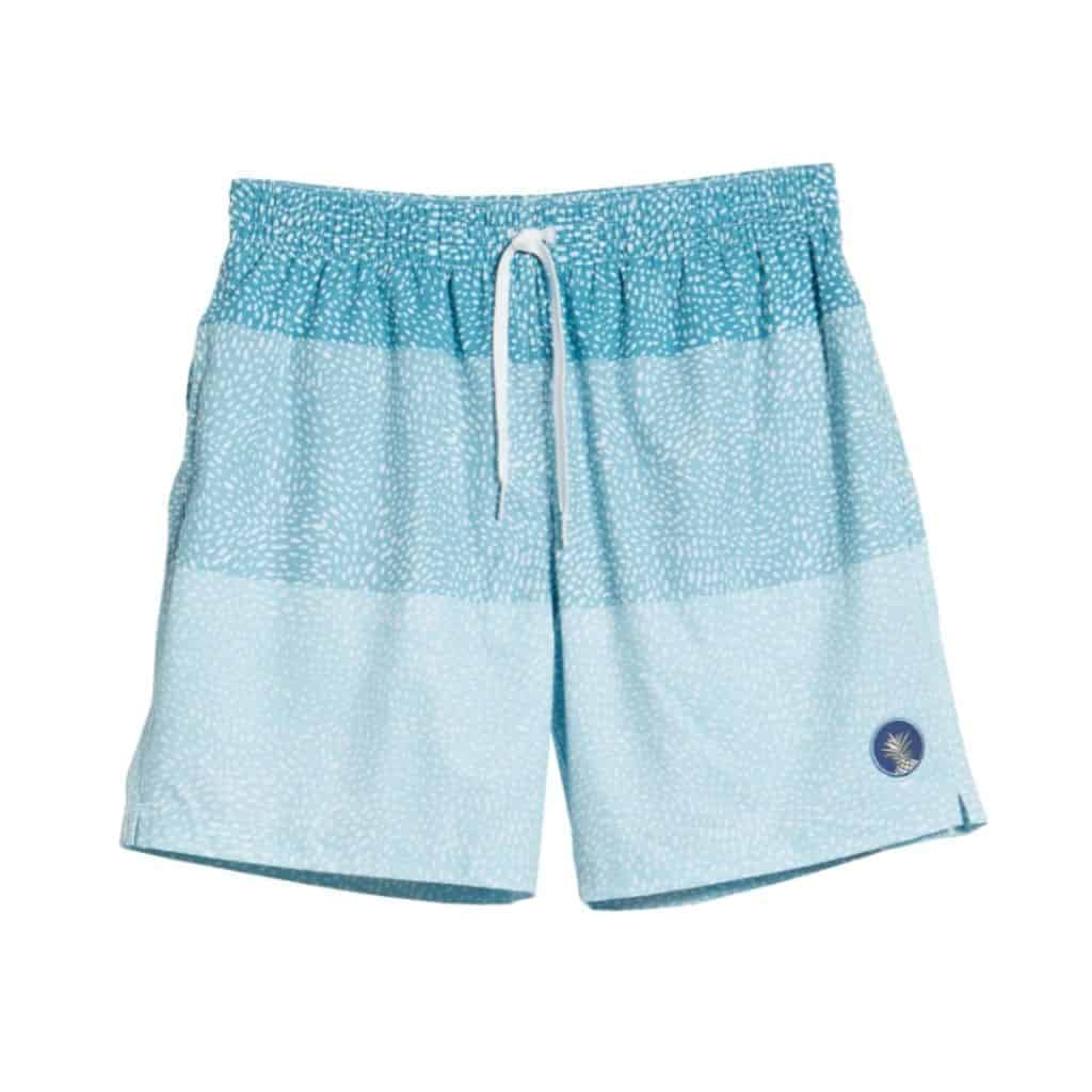 Light blue Chubbies swim trunks.
