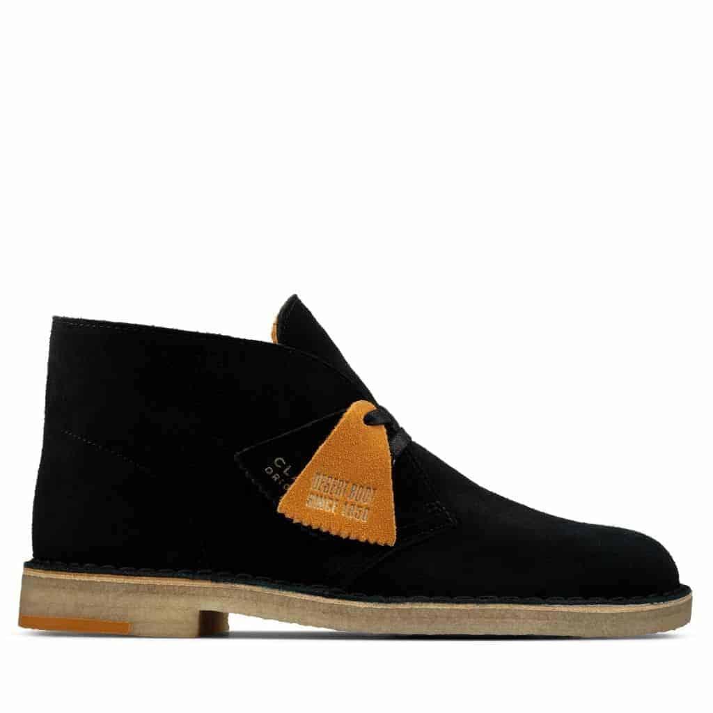 Clarks black suede desert boot.