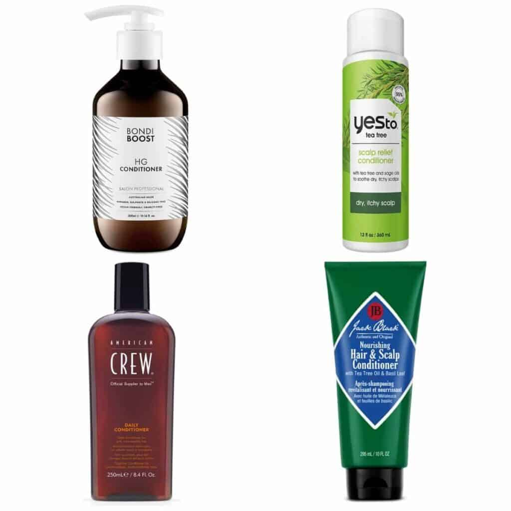 Four bottles of different hair conditioners.