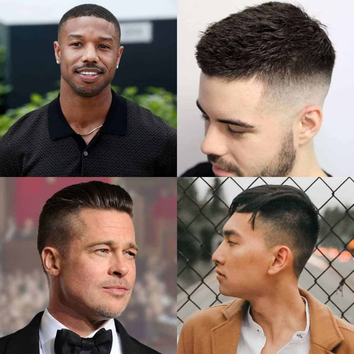 Four examples of different men's short haircuts.