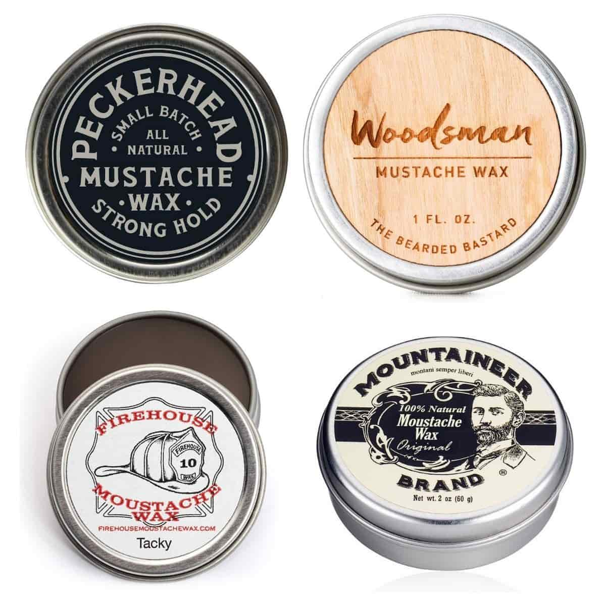 Four tins of mustache waxes.