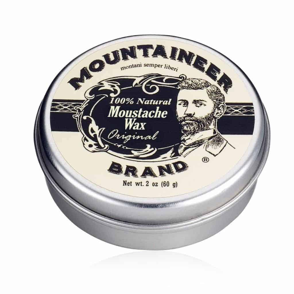 Container of Mountaineer mustache wax.