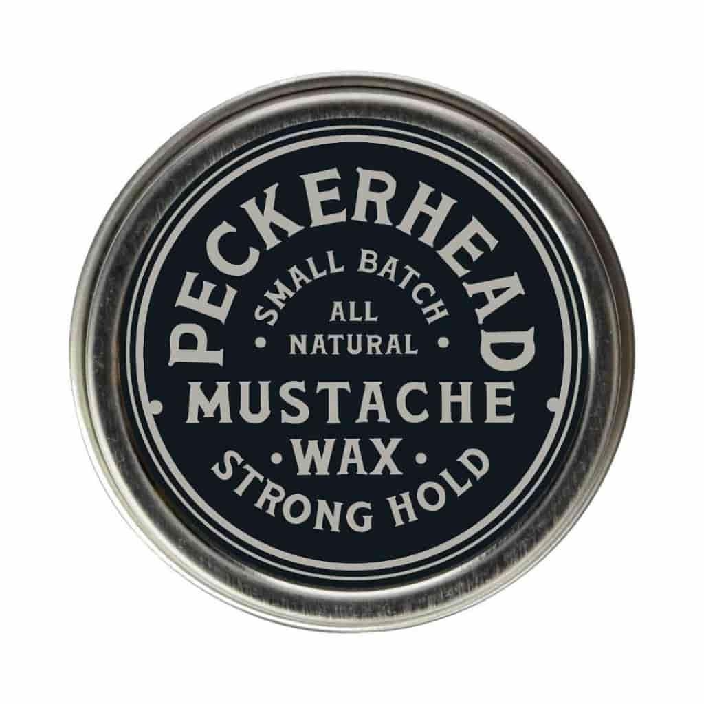 Container of Peckerhead mustache wax.