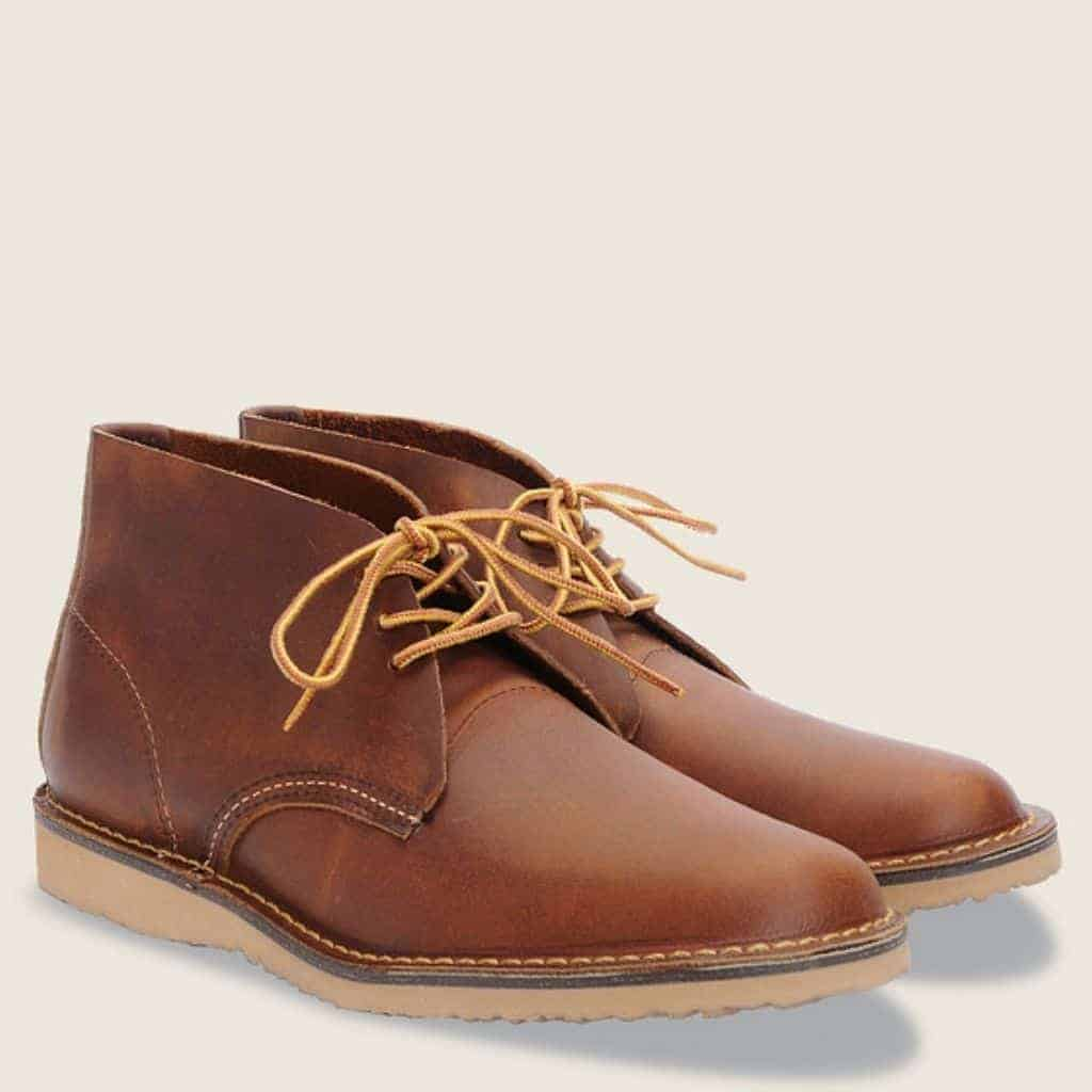 Red Wing brown leather chukka boots.