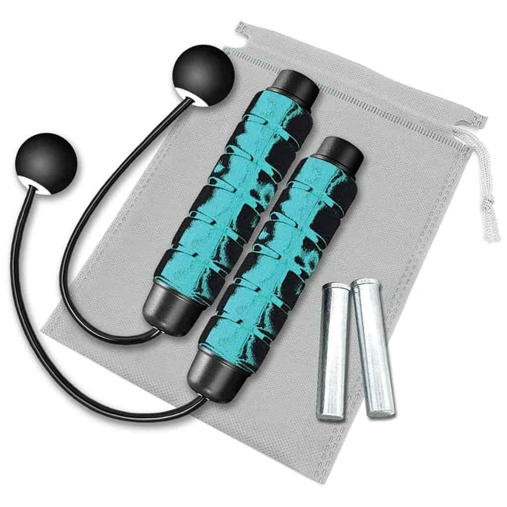 Blue and black cordless weighted jump rope.