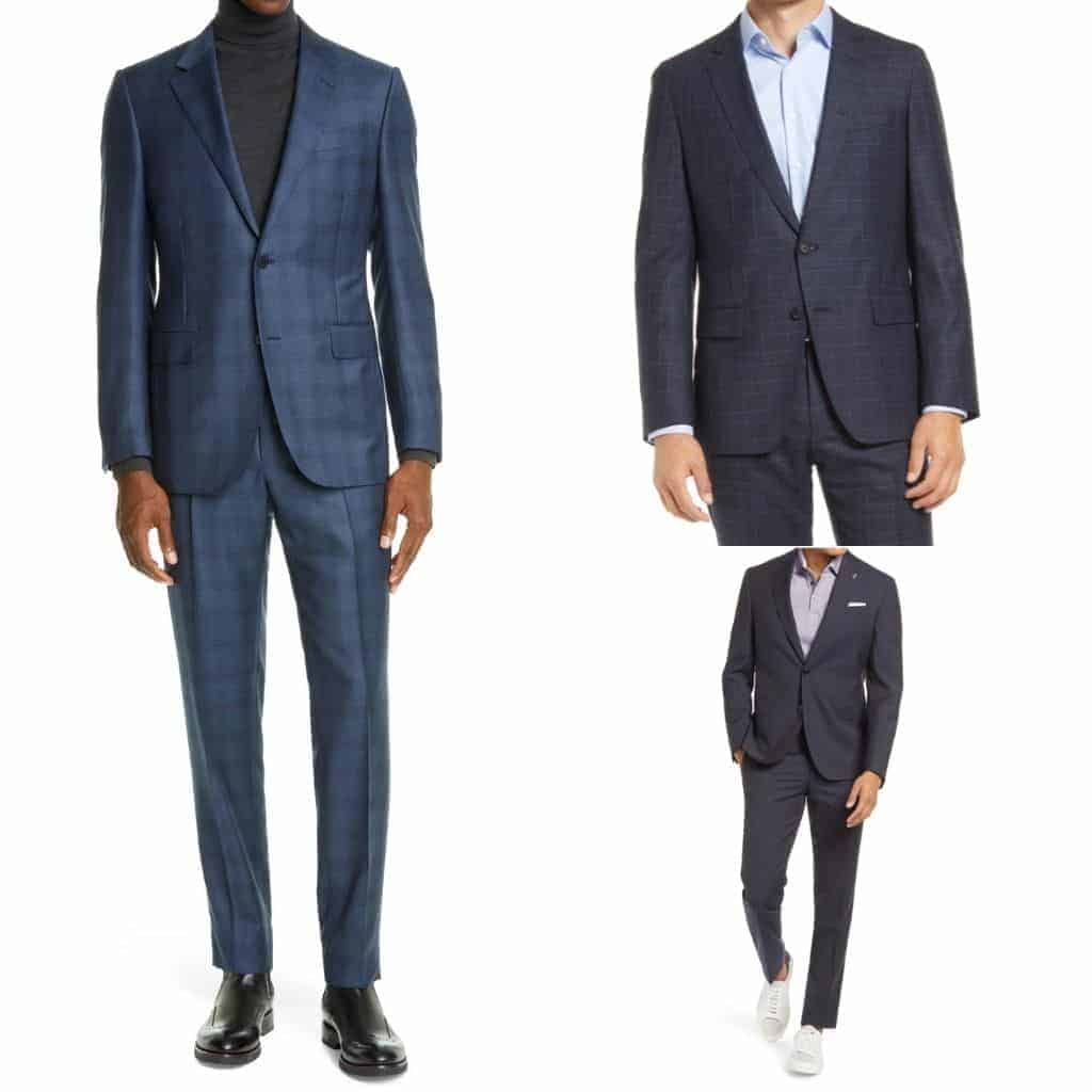 Three examples of a person wearing a suit without a tie.