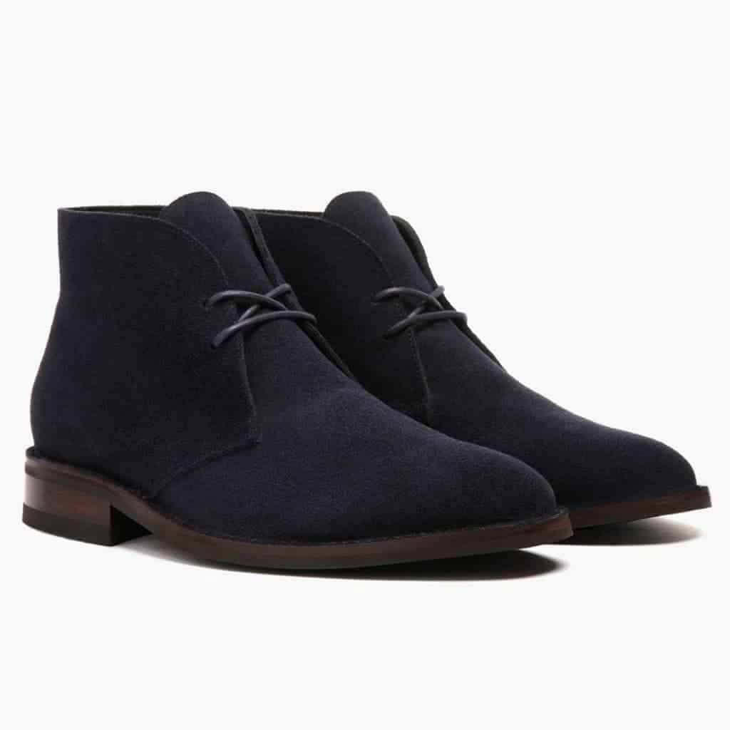 Navy suede chukka boots.