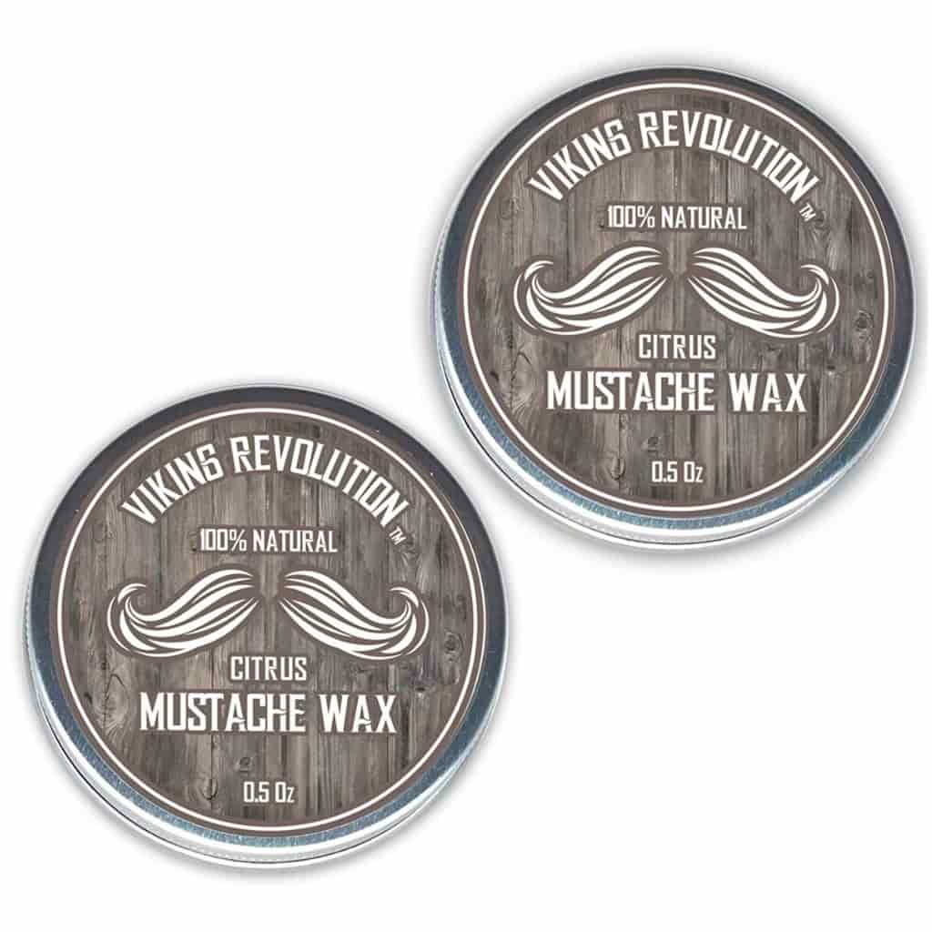 Two containers of Viking Revolution Mustache Wax.