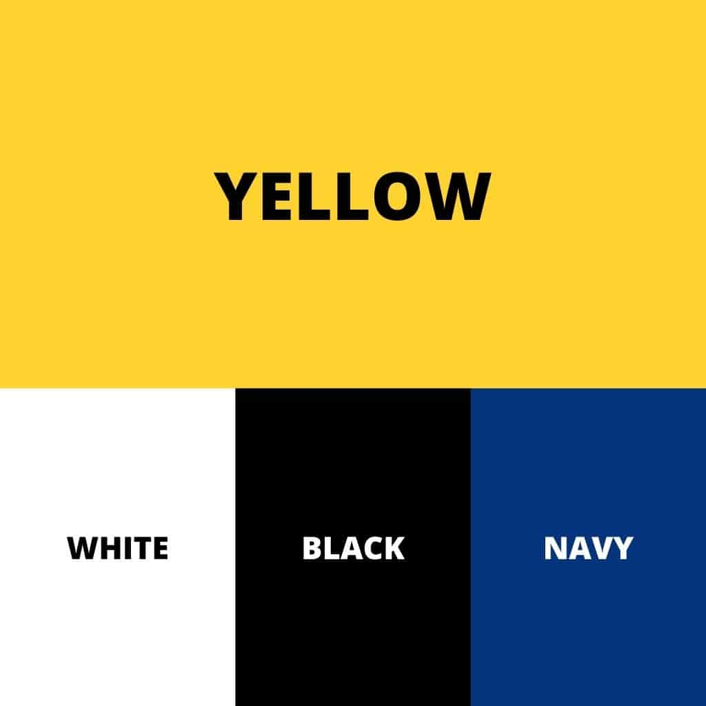 Yellow, white, black, and navy color palette.