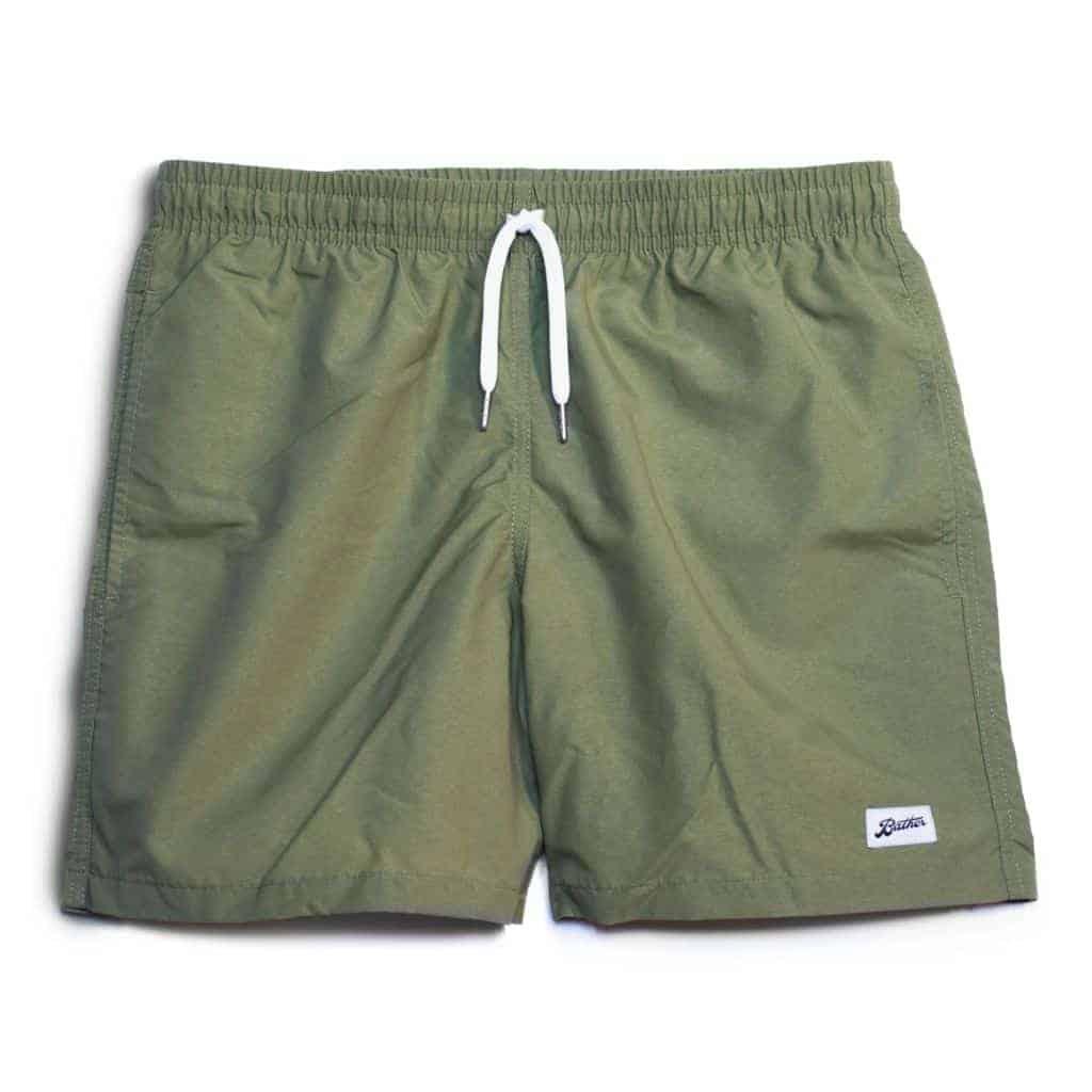 Olive green swim trunks by Bather.