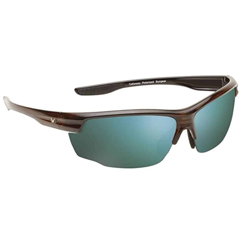 Callaway sunglasses with a brown frame and teal lenses.