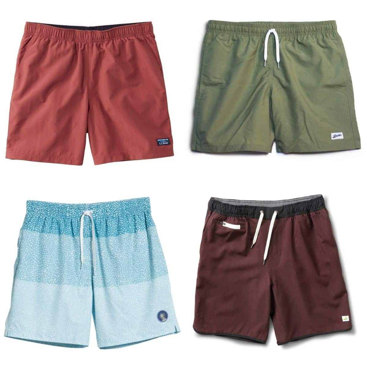Four swim trunks of different colors.