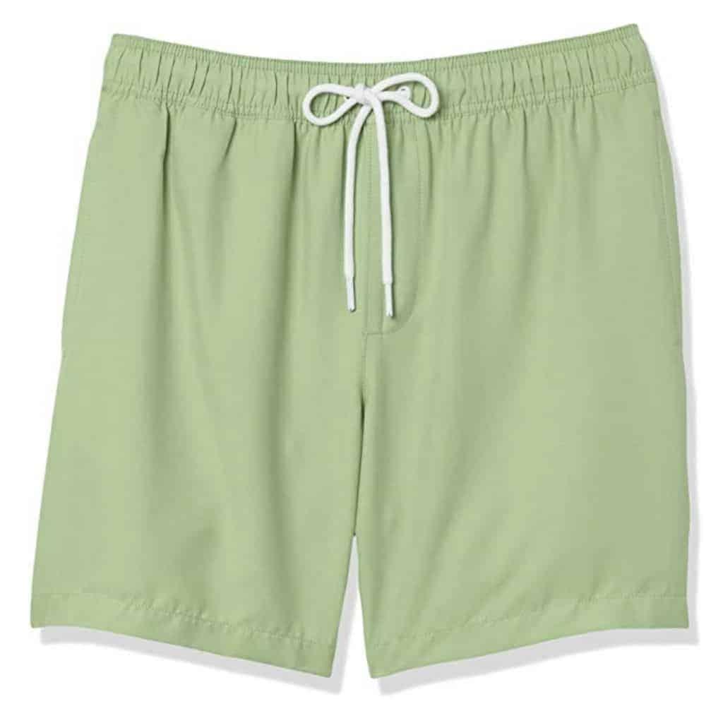Light green swim trunks.