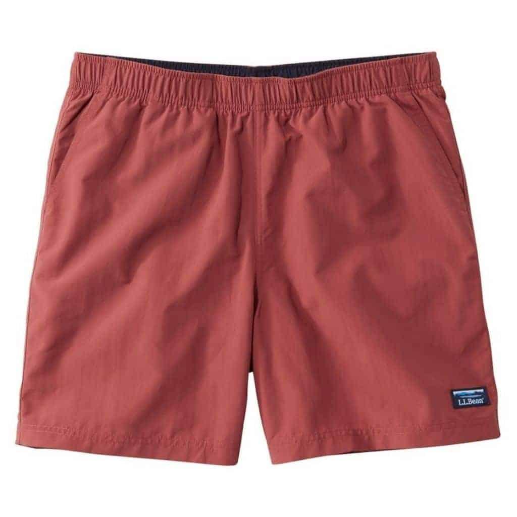 Red swim trunks.