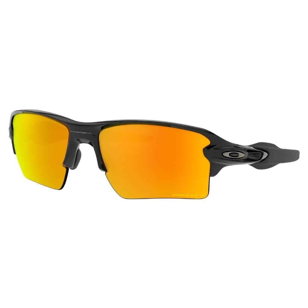 Oakley black sunglasses with orange polarized lenses.