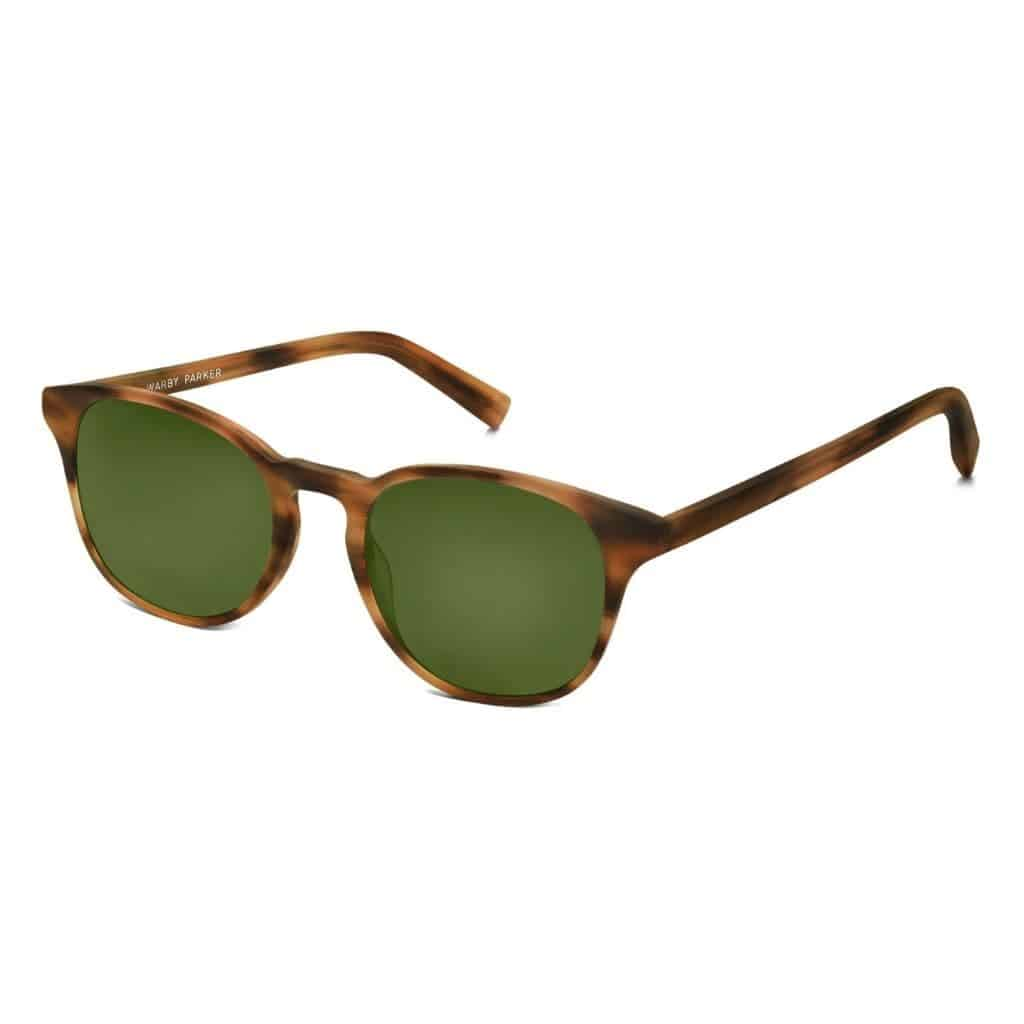Warby Parker polarized sunglasses with a brown frame.