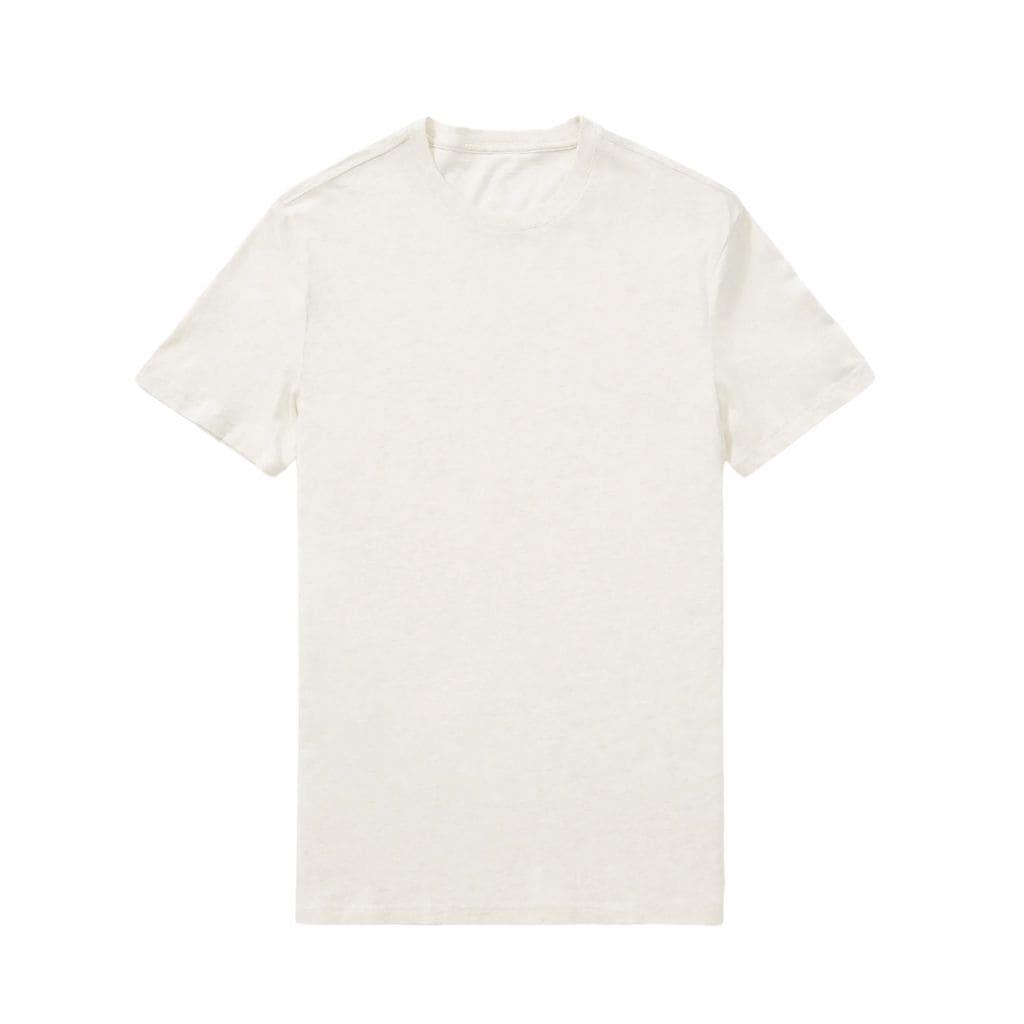 Light beige crewneck t-shirt.