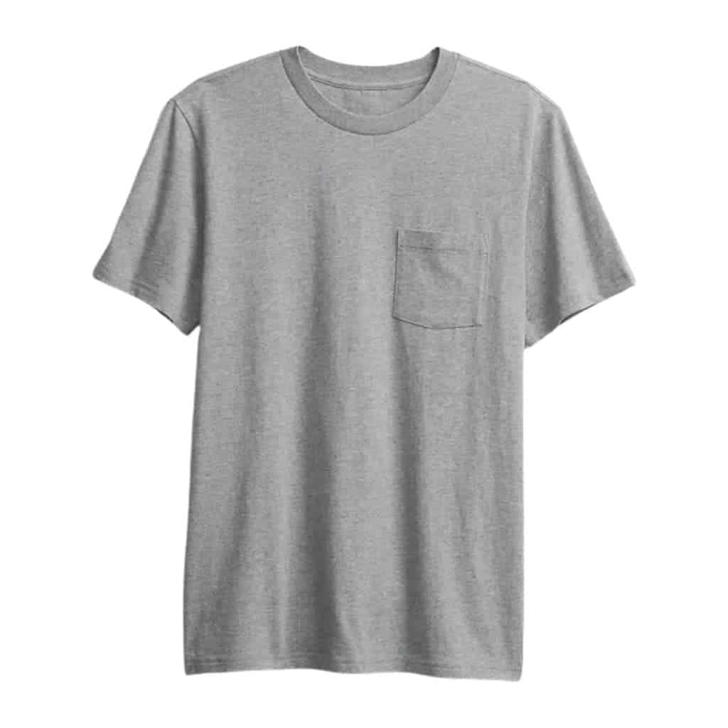 Grey pocket t-shirt.