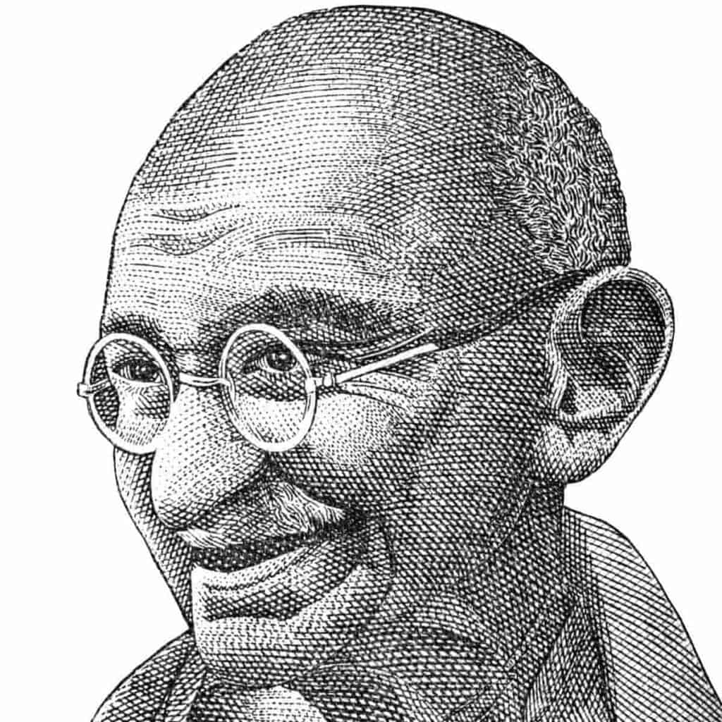 Drawing of Mahatma Gandhi's face