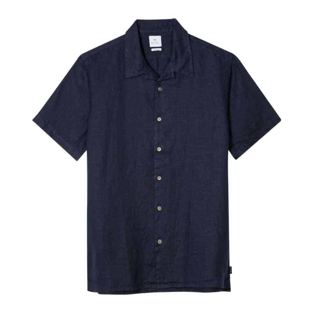 Navy blue camp collar shirt.