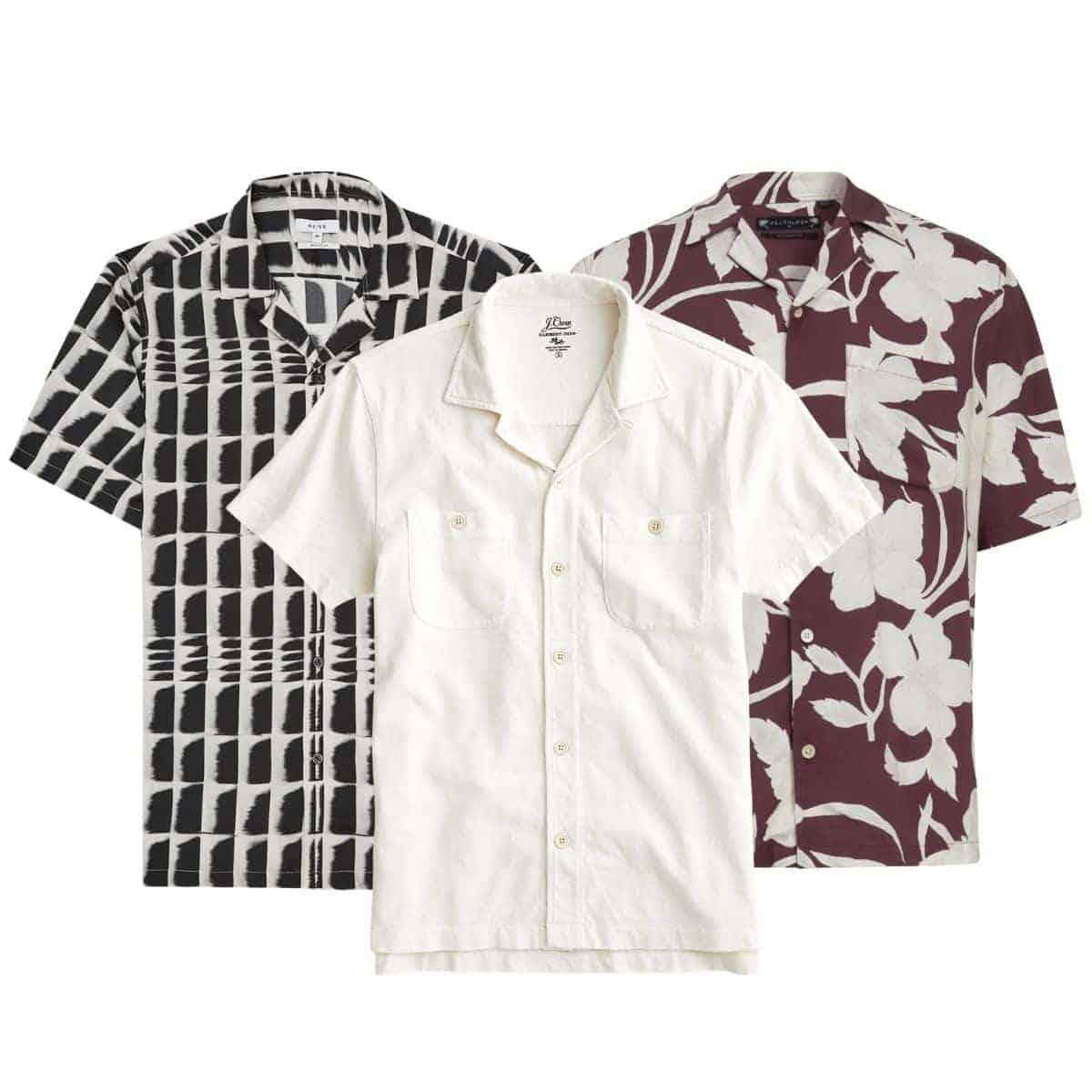 Three camp collar shirts.