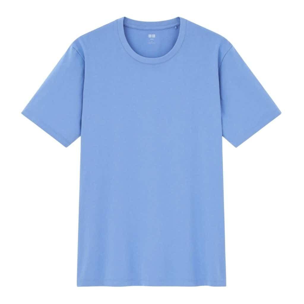 Light blue t-shirt.