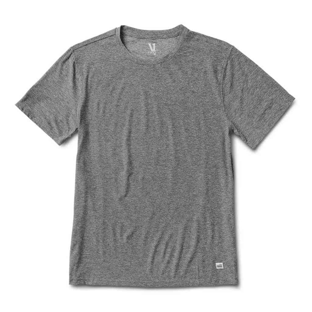 Grey crewneck t-shirt.