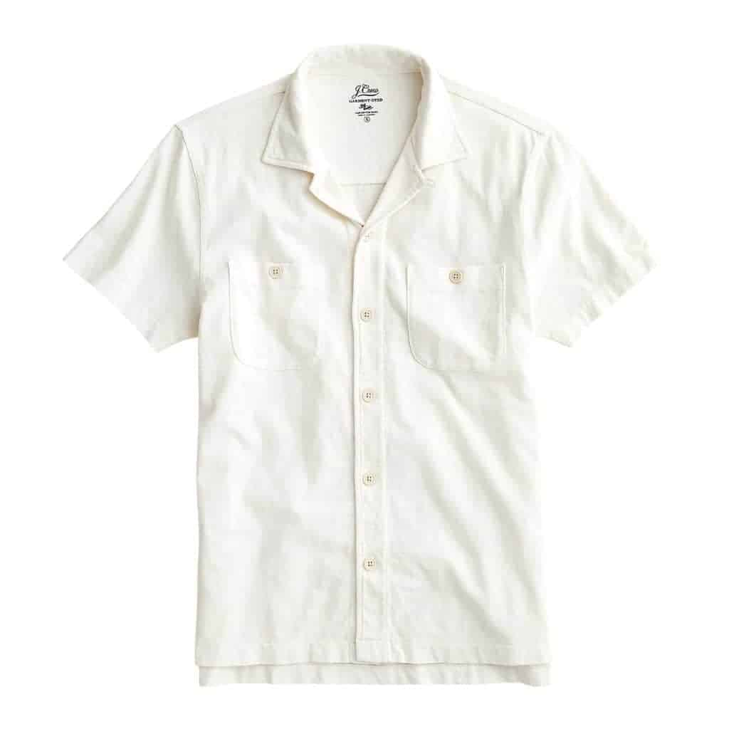 White camp collar shirt with pockets.
